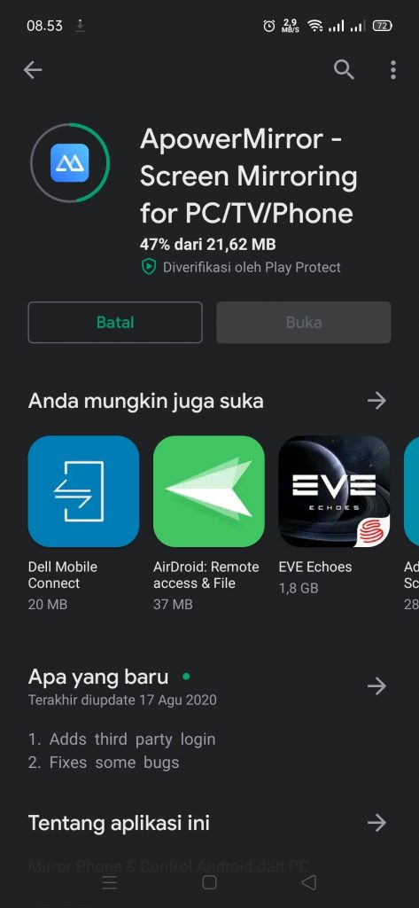 Instal ApowerMirror di Android - 2